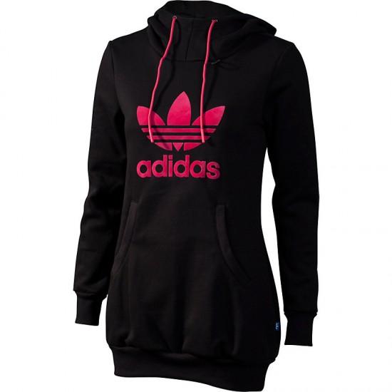 adidas damen long logo hoodie schwarz pink ebay. Black Bedroom Furniture Sets. Home Design Ideas